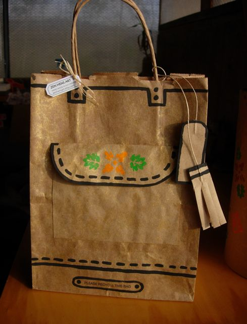 Hand made using re-purposed brown bag.
