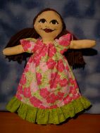 Long muumuu with green ruffle. This one is a little loose, it could use a ribbon sash.